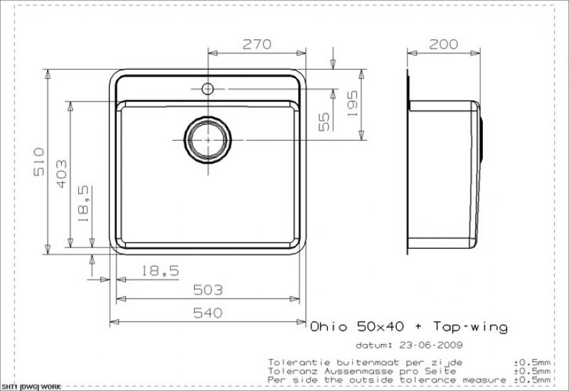 Maße Spüle reginox ohio 50x40 mit hahnlochbank als auflagespüle und