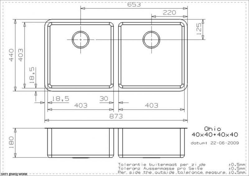 Maße Spüle reginox ohio 40x40 40x40 als auflagespüle flächenbündige spüle