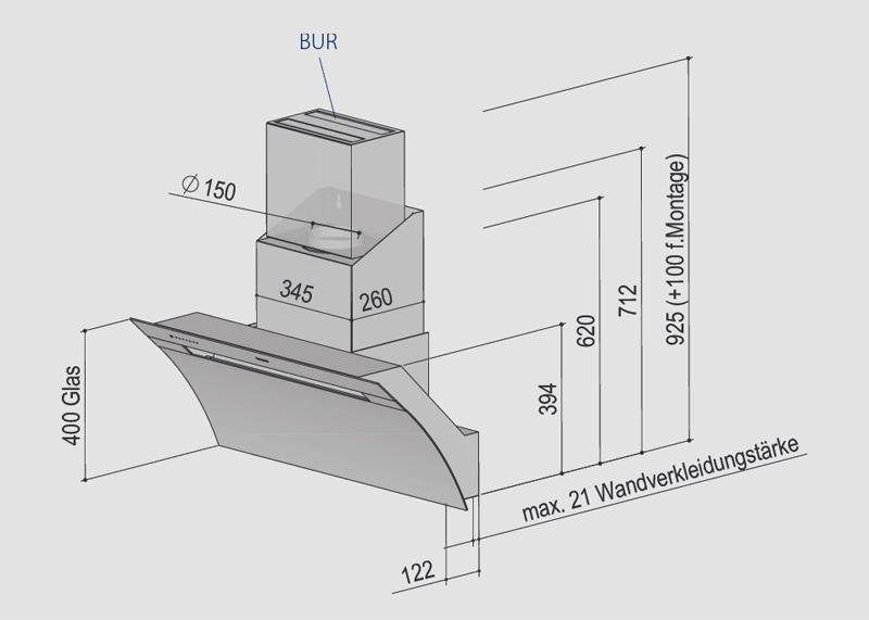 berbel kopffreihaube glassline bkh 90 gl 2 wei. Black Bedroom Furniture Sets. Home Design Ideas