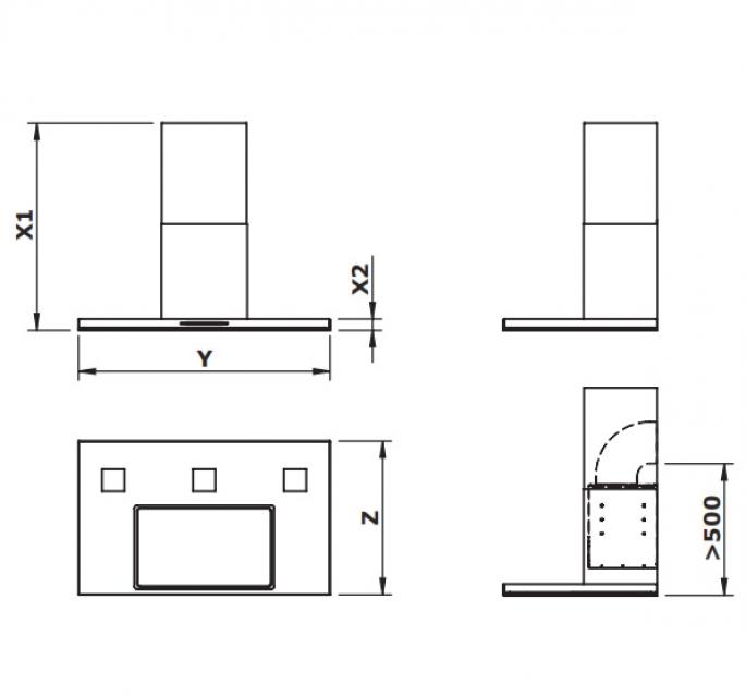 gutmann sombra 68 w b intern wandhaube edelstahl und schwarzes glas 90 cm mit motor 68w900b. Black Bedroom Furniture Sets. Home Design Ideas