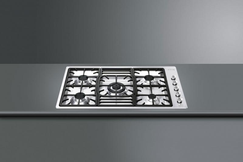 smeg pgf95d 4 gaskochfeld edelstahl flachrahmen. Black Bedroom Furniture Sets. Home Design Ideas