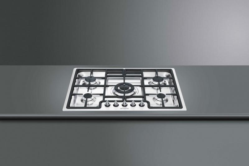 smeg pgf75d 4 gaskochfeld edelstahl 72 cm mit 5 jahren garantie. Black Bedroom Furniture Sets. Home Design Ideas