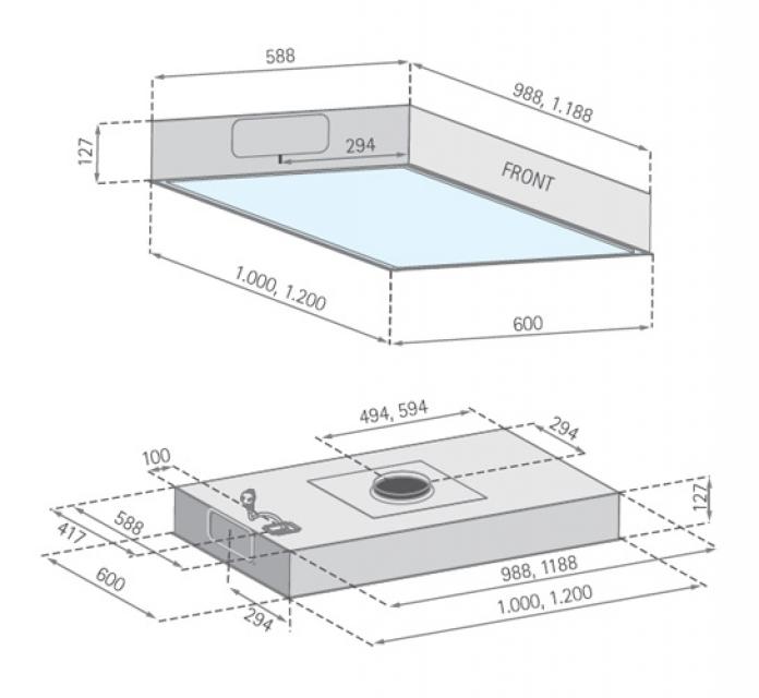 Silverline quadra 120 cm qud 124 e deckenhaube for Deckenhaube