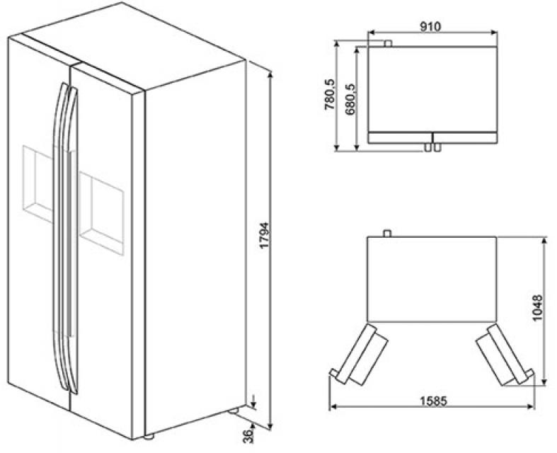 smeg sbs63xed k hl gefrier komb side by side. Black Bedroom Furniture Sets. Home Design Ideas