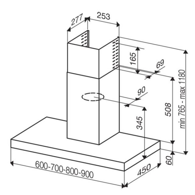 best beta lux 80 edelstahl wandhaube 80 cm. Black Bedroom Furniture Sets. Home Design Ideas