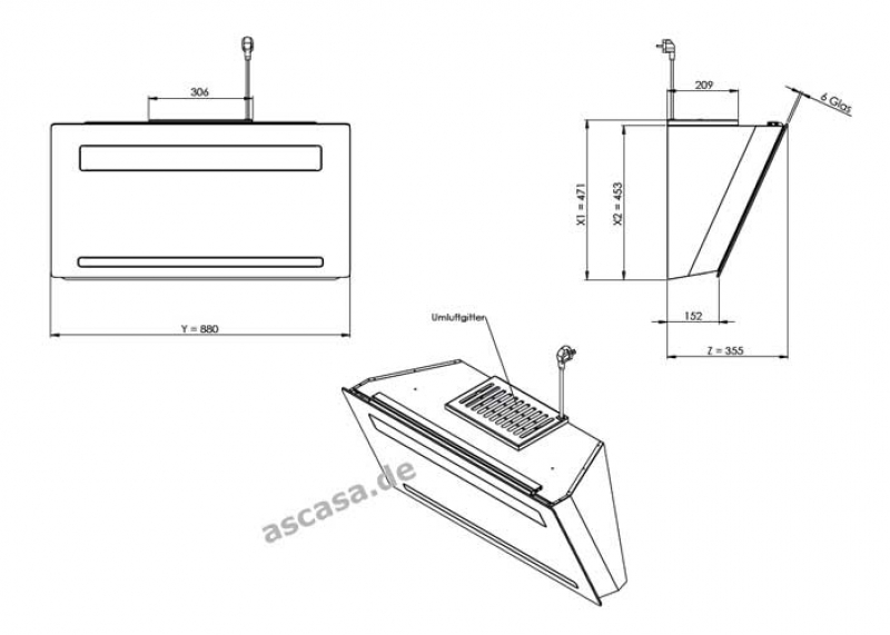 gutmann amplia 531 w c bl umluft wandhaube. Black Bedroom Furniture Sets. Home Design Ideas