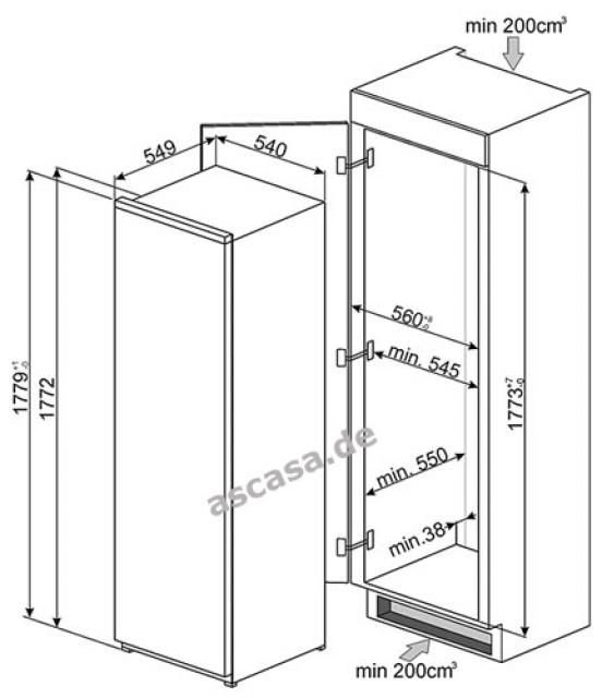 smeg s7298cfd2p einbau k hlschrank. Black Bedroom Furniture Sets. Home Design Ideas