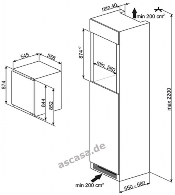 smeg sid140c einbau k hlschrank. Black Bedroom Furniture Sets. Home Design Ideas