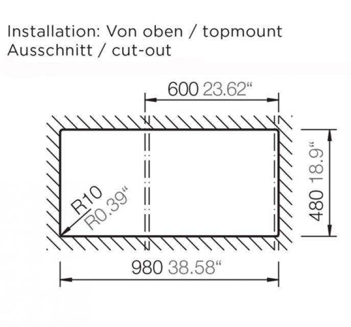 Schock Formhaus D 150 L Einbau Auflage Onyx