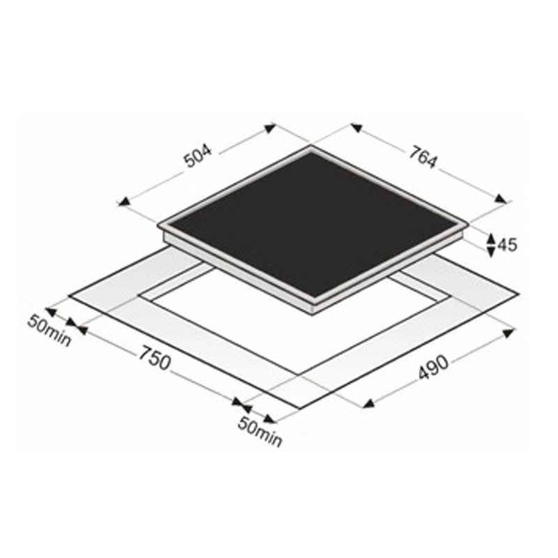 vonreiter ekh8050 4zb highlight kochfeld 80 cm rahmenlos. Black Bedroom Furniture Sets. Home Design Ideas