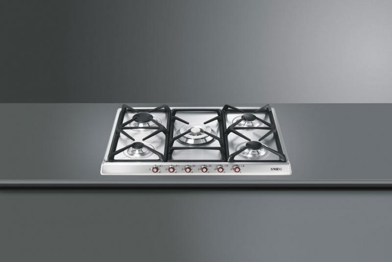 smeg sr775xrwd gaskochfeld 5 kw brenner edelstahl 70 cm rotwein mit 5 jahren garantie. Black Bedroom Furniture Sets. Home Design Ideas